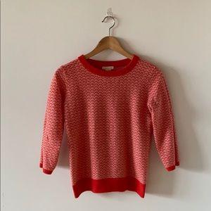 🧶 Club Monaco Sweater Red/Pink crew, 3/4 sleeves